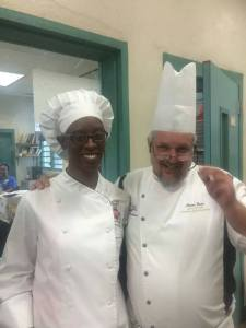 Samantha Nibbs with Anton Doos, CEC, President of the ACF Virgin Islands Chefs & Cooks Association. the Virgin Islands