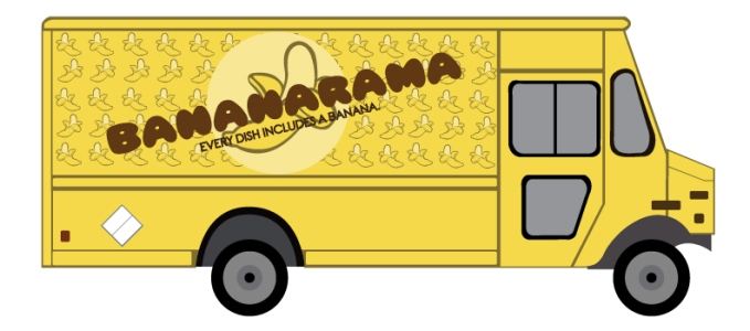 A visual rendering of a banana-themed food truck.