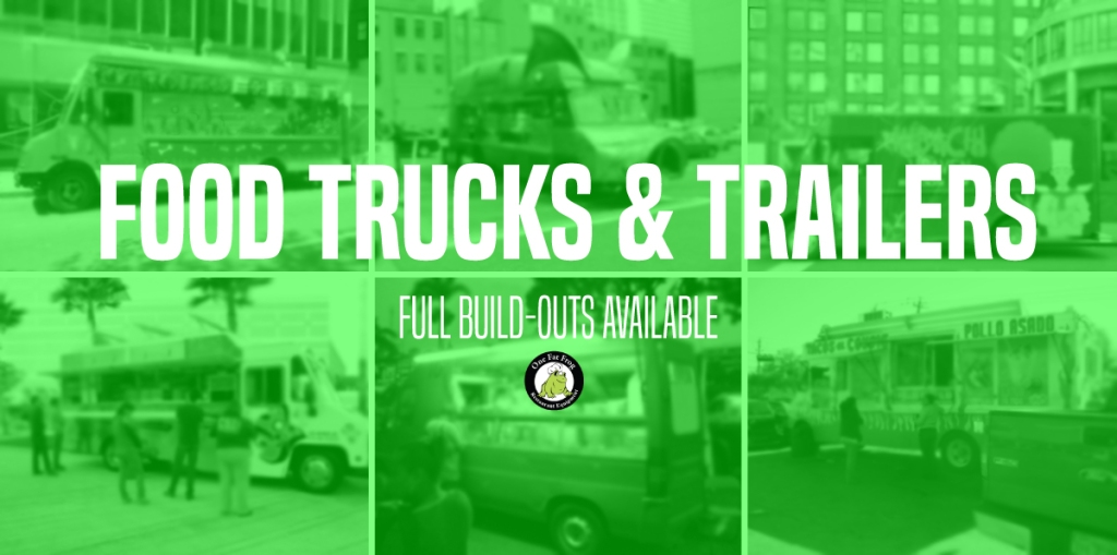 A gallery of various food trucks tinted in green