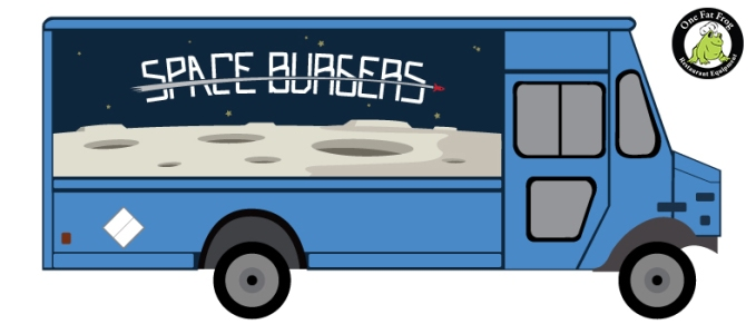 A visual rendering of a space-themed hamburger food truck.
